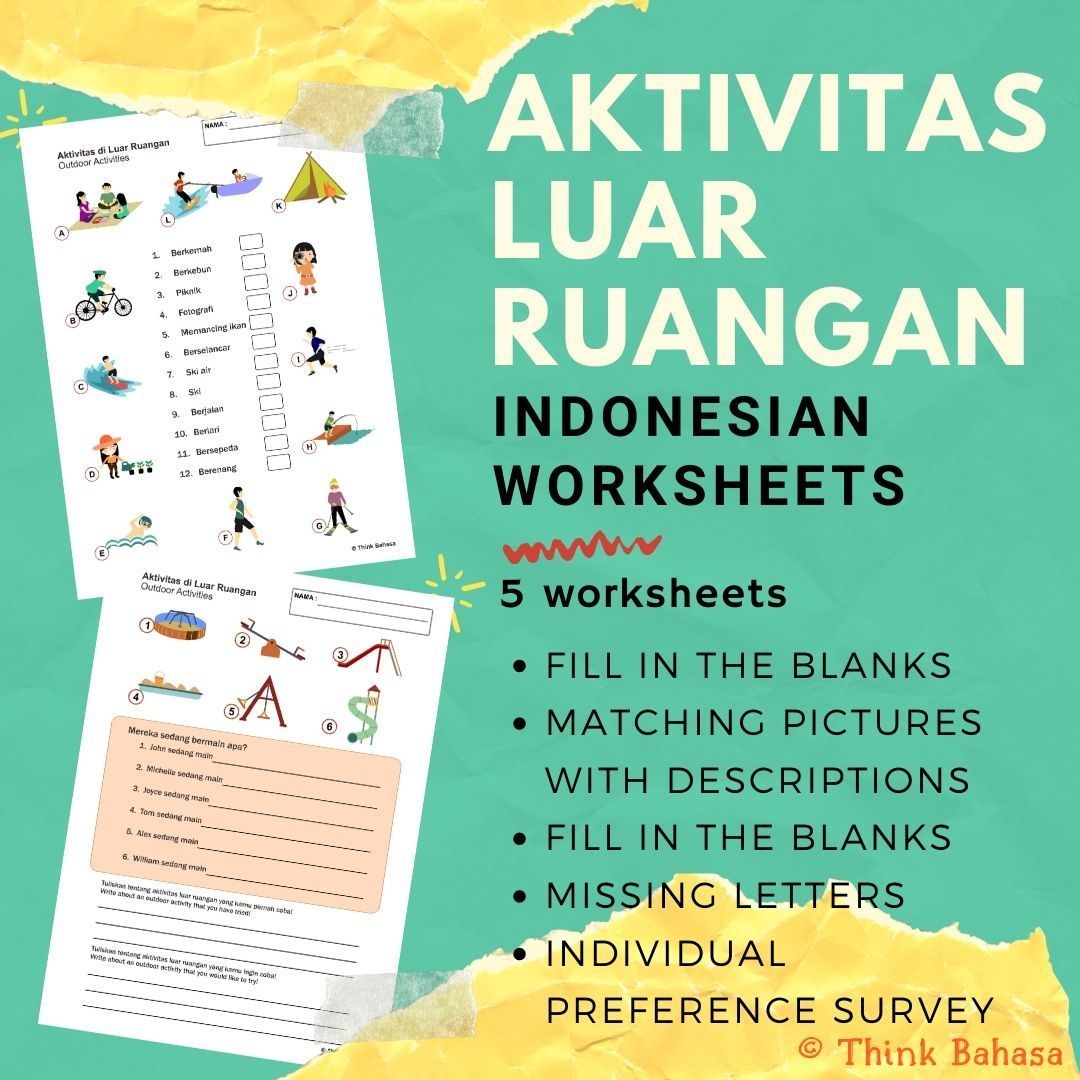 Outdoor Activities In Indonesian Worksheets Amp Answer Keys