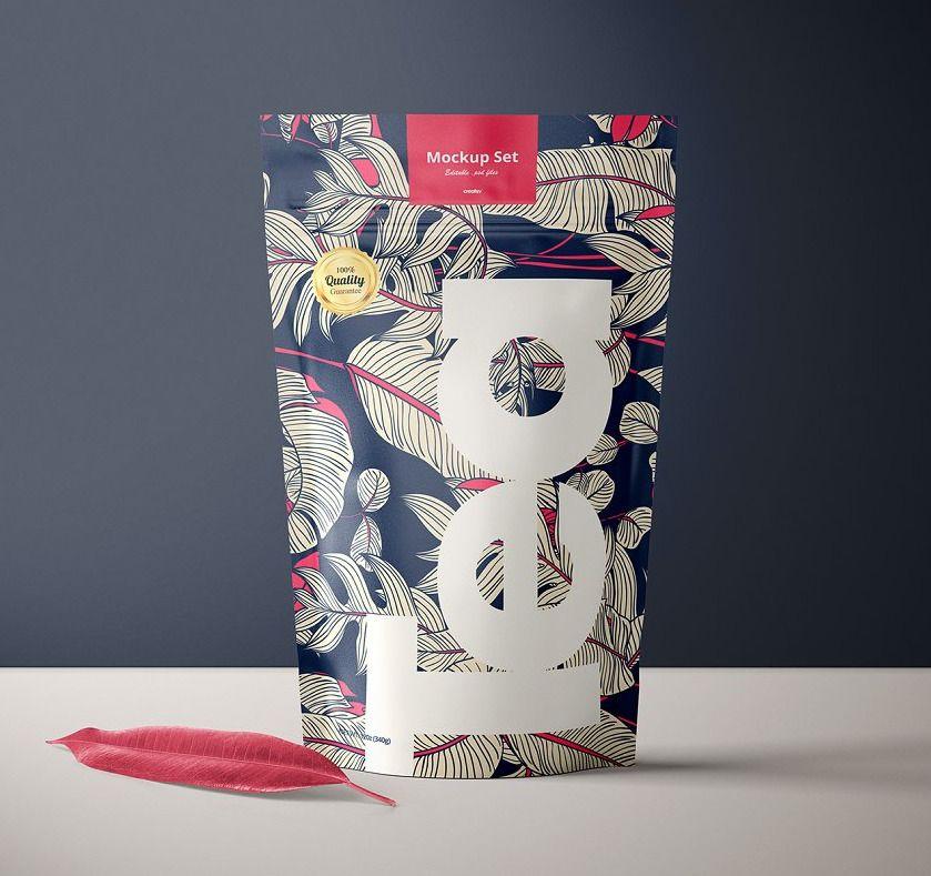 Download Stand Up Ziplock Bag Mockup Set Tea Box Design Bag Mockup Ziplock Bags