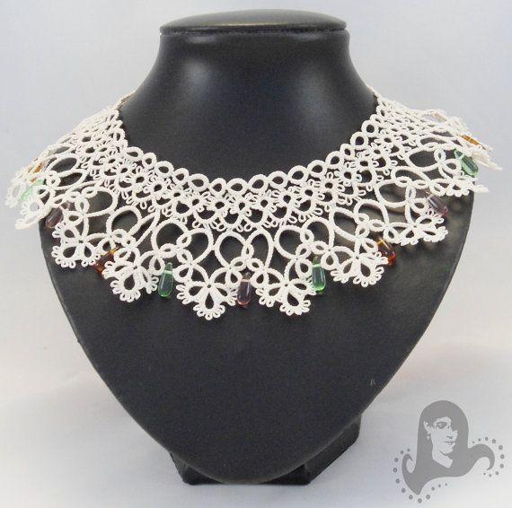 Bridal tatting necklace, wedding lace collar necklace - Victorian Dream - tatted bridal collar necklace