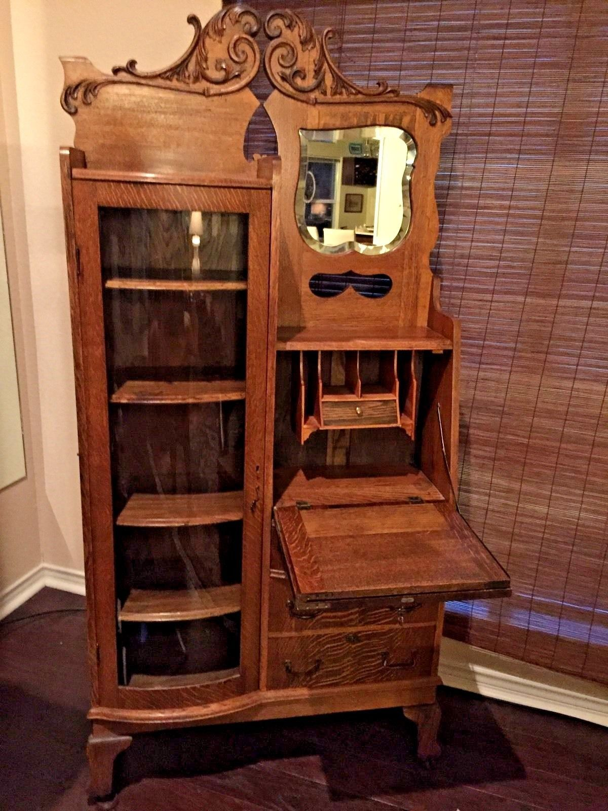 Antique Combination Oak Bookcase & Secretary Desk Circa 1900's - Antique Combination Oak Bookcase & Secretary Desk Circa 1900's