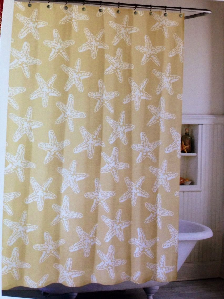 Coastal Collection Fabric Shower Curtain Tan Khaki White Starfish Ebay Fabric Shower Curtains Curtains Fabric