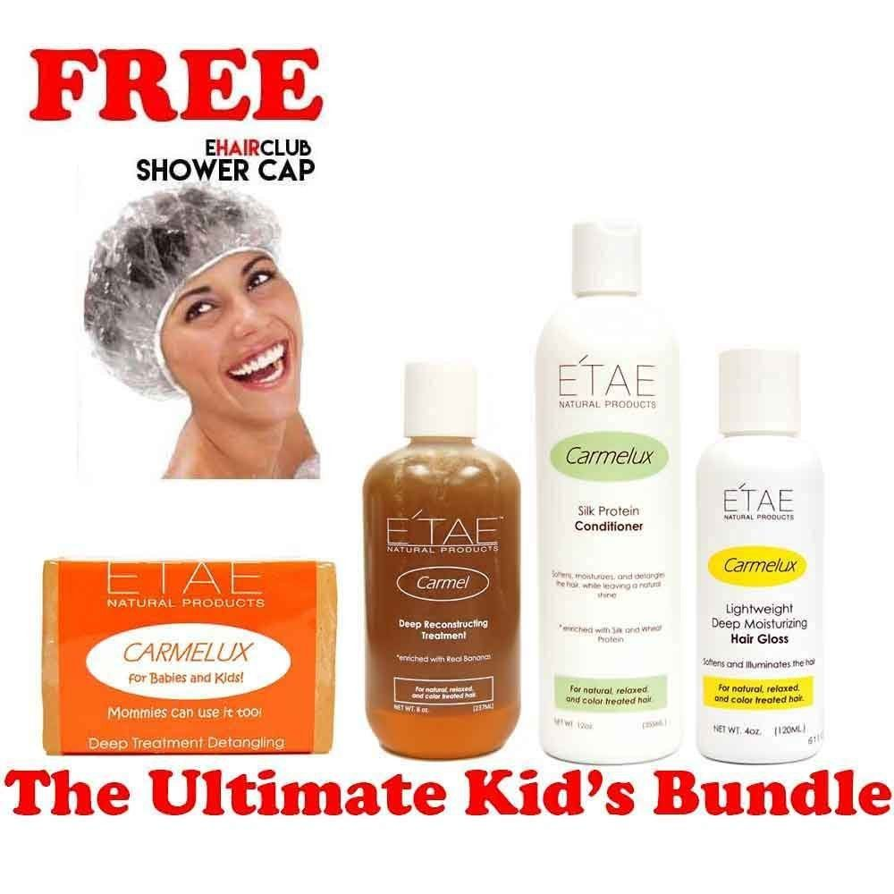Etae Ultimate Kid's Bundle, Kids Shampoo, Carmel Treatment, Conditioner, Hair Gloss (4 items) w/ Free Shower Cap * Continue to the product at the image link. (This is an Amazon affiliate link)
