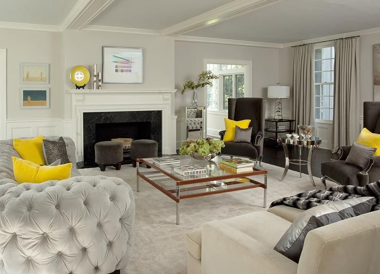 Yellow And Gray Living Room With Light Gray Velvet Tufted Curved Sofa Contemporary Living Living Room Table Sets Trendy Living Rooms Grey Couch Living Room