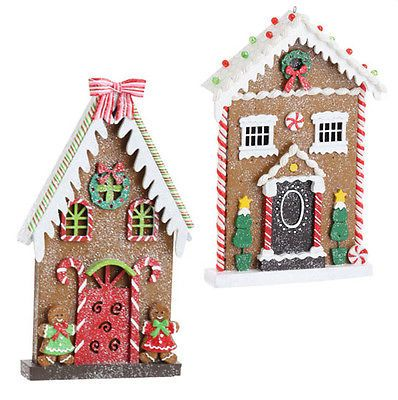 Incredible 2 Large Gingerbread House Christmas Flat Ornaments Decor Raz Download Free Architecture Designs Rallybritishbridgeorg