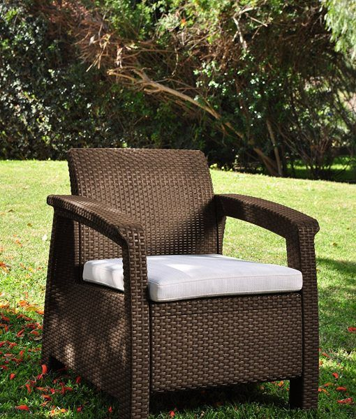 Keter Corfu 4pc Wicker Brown Chair Lounge Chair Outdoor Deep Seating Chair Outdoor Armchair