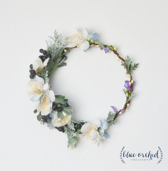 Couronne de fleurs, couronne de fleurs Boho, couronne de fleurs bleu fleur couronne, Berry, mariage fleur couronne, couronne de fleurs en soie, couronne de fleurs Faux, lavande