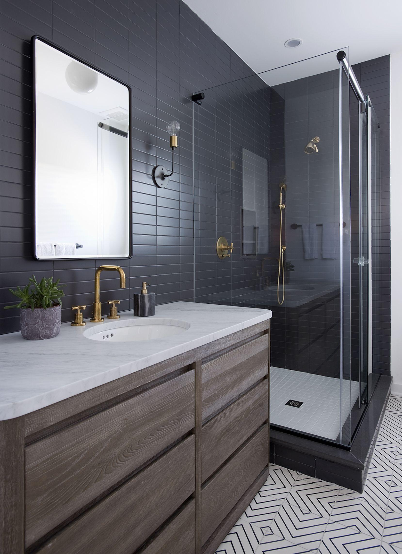 Sleek Modern Dark Bathroom With Glossy Tiled Walls Threshold Interiors Nyc Bathrooms