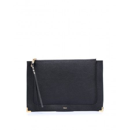 Leather pouch, made as an envelope, with zip closure on the top and long zip pull by @Chloe