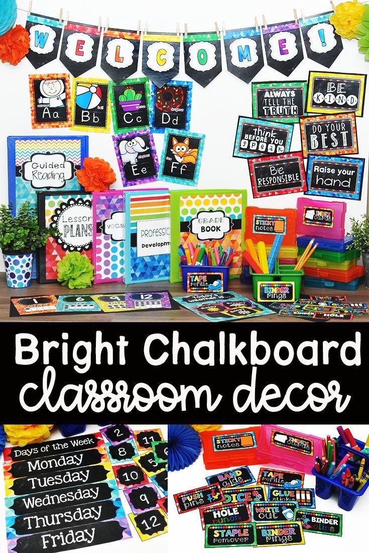 Chalkboard Brights Classroom Decor Bundle #elementaryclassroomdecor