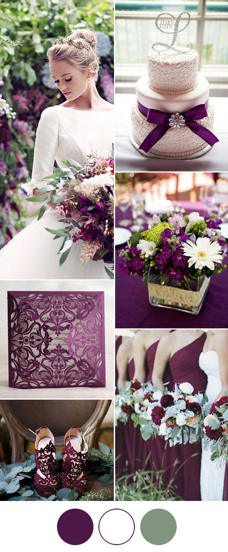 7 popular wedding color schemes for 2017 elegant weddings plum elegant plum purple and white wedding color ideas junglespirit Choice Image