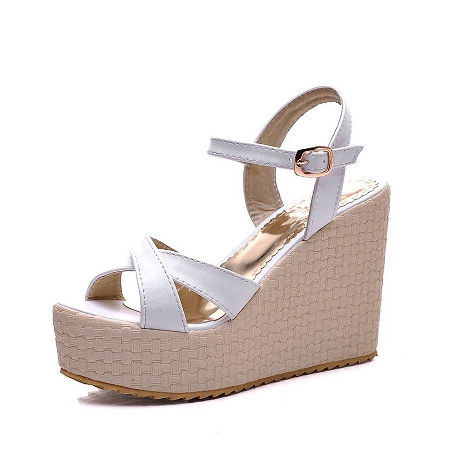 AmoonyFashion Girls Open Toe High Heel Wedge Platform Soft Material PU Solid Sandals ** Insider's special review you can't miss. Read more  : Girls sandals
