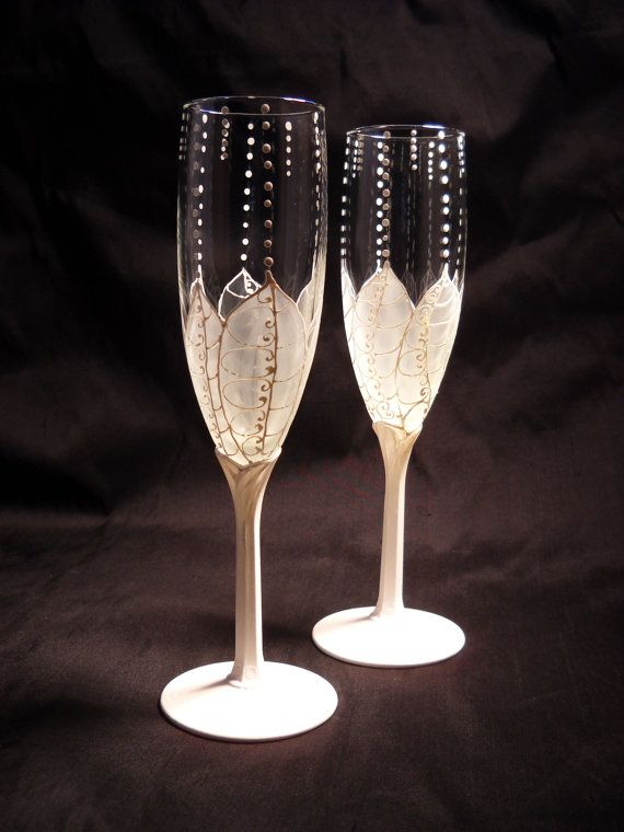 Wedding Glasses Hand Painted Champagne Flutes White Flower Crafts Pintere