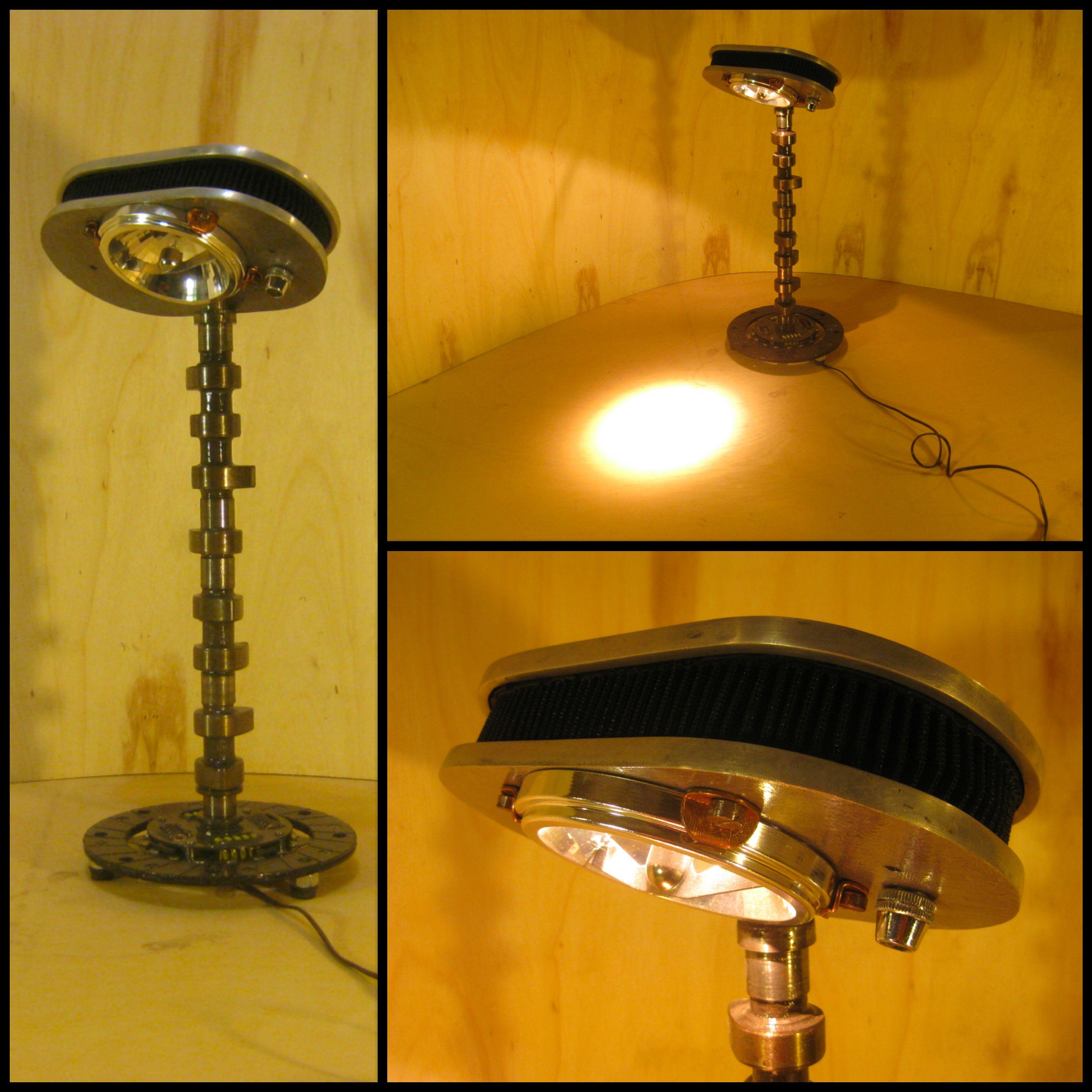 luminária feita de peças de carro, lampada R111 12v dimmerizavel, dímmer de fácil acesso, ao lado da lampada.