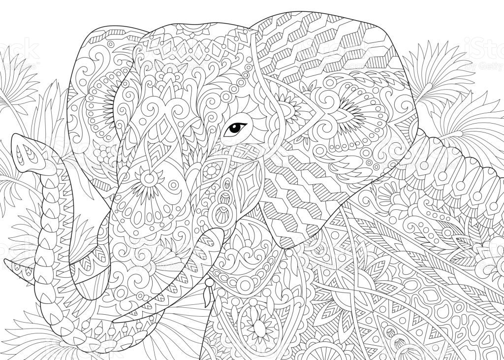 Stylized Elephant Among Leaves Of Palm Tree Freehand Sketch For Malvorlagen Tiere Elefant Malbuch Vorlagen