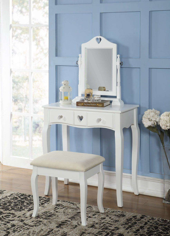 Amazon Com 3 Piece Wood Make Up Mirror Heart Vanity Dresser Table And Stool Set White Dresser Table Vanity Mirror [ 1365 x 984 Pixel ]