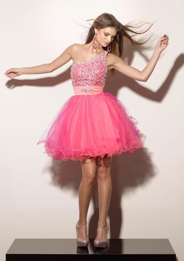 Fuchsia Beaded One Shoulder Layered Short Prom Dress ...