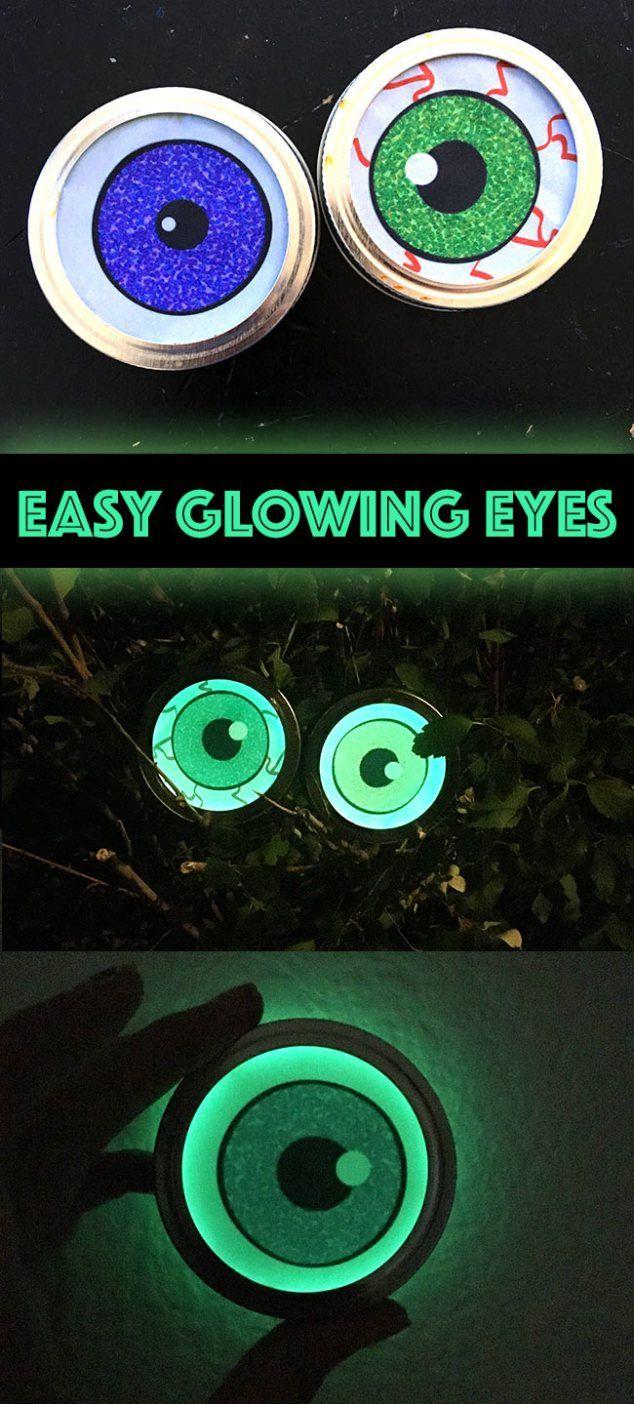 Easy Glowing Eyes Halloween Decor Eye, Glow sticks and DIY Halloween - glow in the dark halloween decorations
