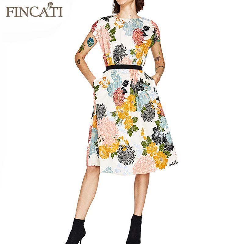 Women Summer Dress Fincati 2017 Fashion Slash Neck Floral Printed Short Sleeve New Femme Summer Knee-Length Vestido