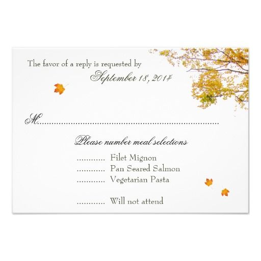 Our Tree in Fall Wedding Menu Reply Cards Personalized Invitation - best of invitation cards for wedding price