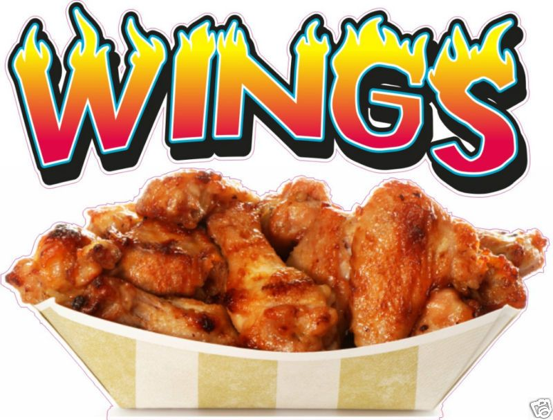 Chicken Wings Concession Restaurant Food Truck Vinyl Menu Sign Decal