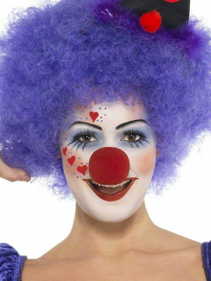 clown schminken augenschatten rote nase rund lila perücke locken