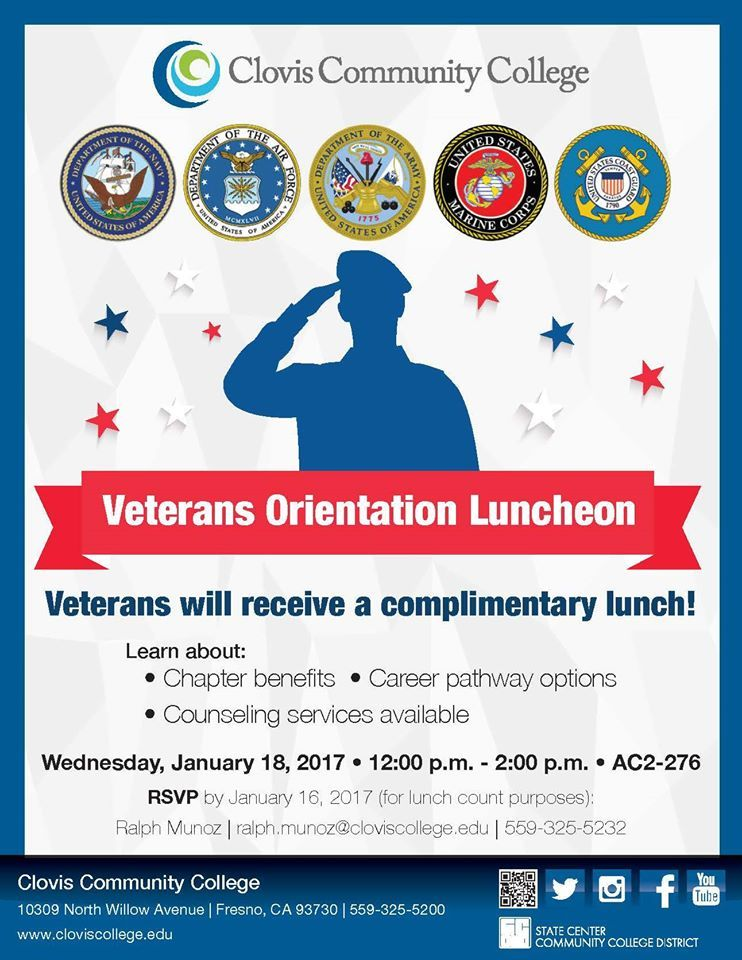 Are you a veteran or know a veteran attending CCC? Attend