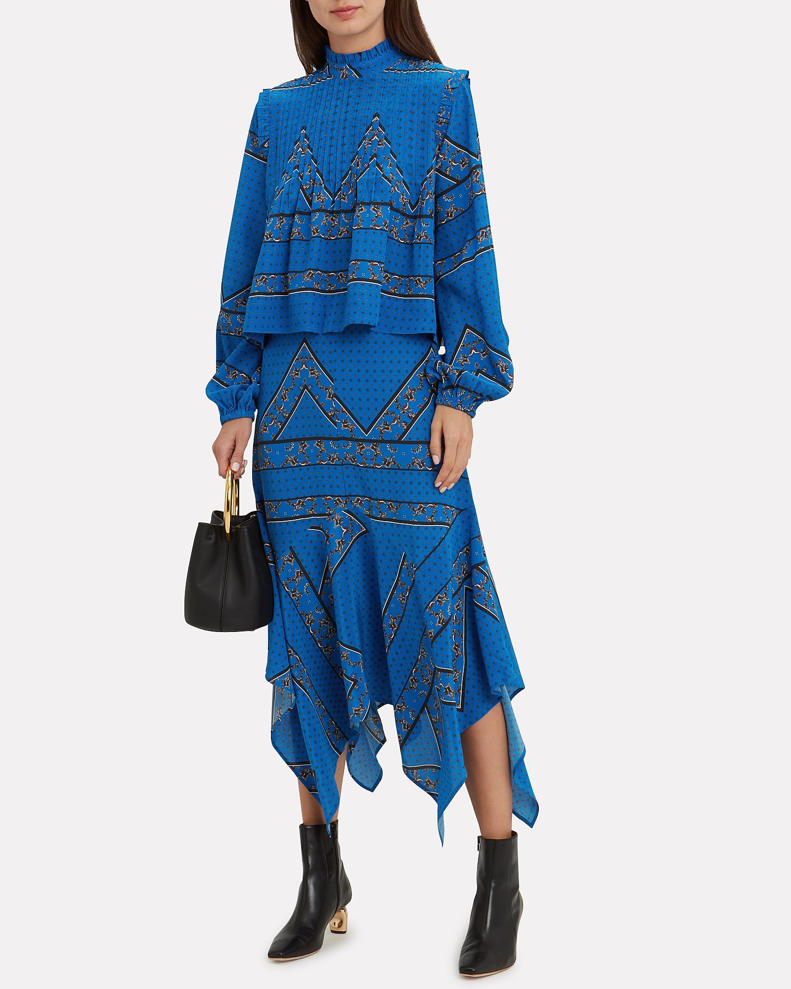 a79871bb6f43 Ganni Sandwashed Silk Printed Lapis Blue Top + Skirt