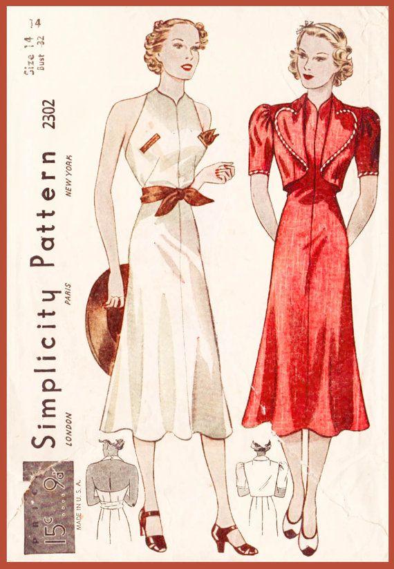1930s 30s Vintage Sewing Pattern dress heart shaped bolero jacket ...