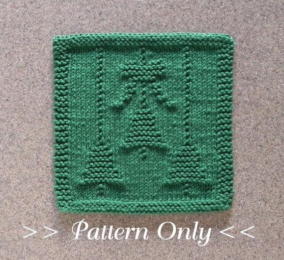 Christmas Bells Bow Knit Dishcloth Pattern By Auntsusanscloset