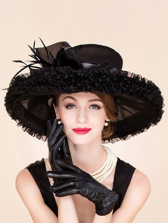 66debd3d5c6  34.09 Fashion Feather Ruffle Edge Design Wedding Banquet Party Black  Church Hat