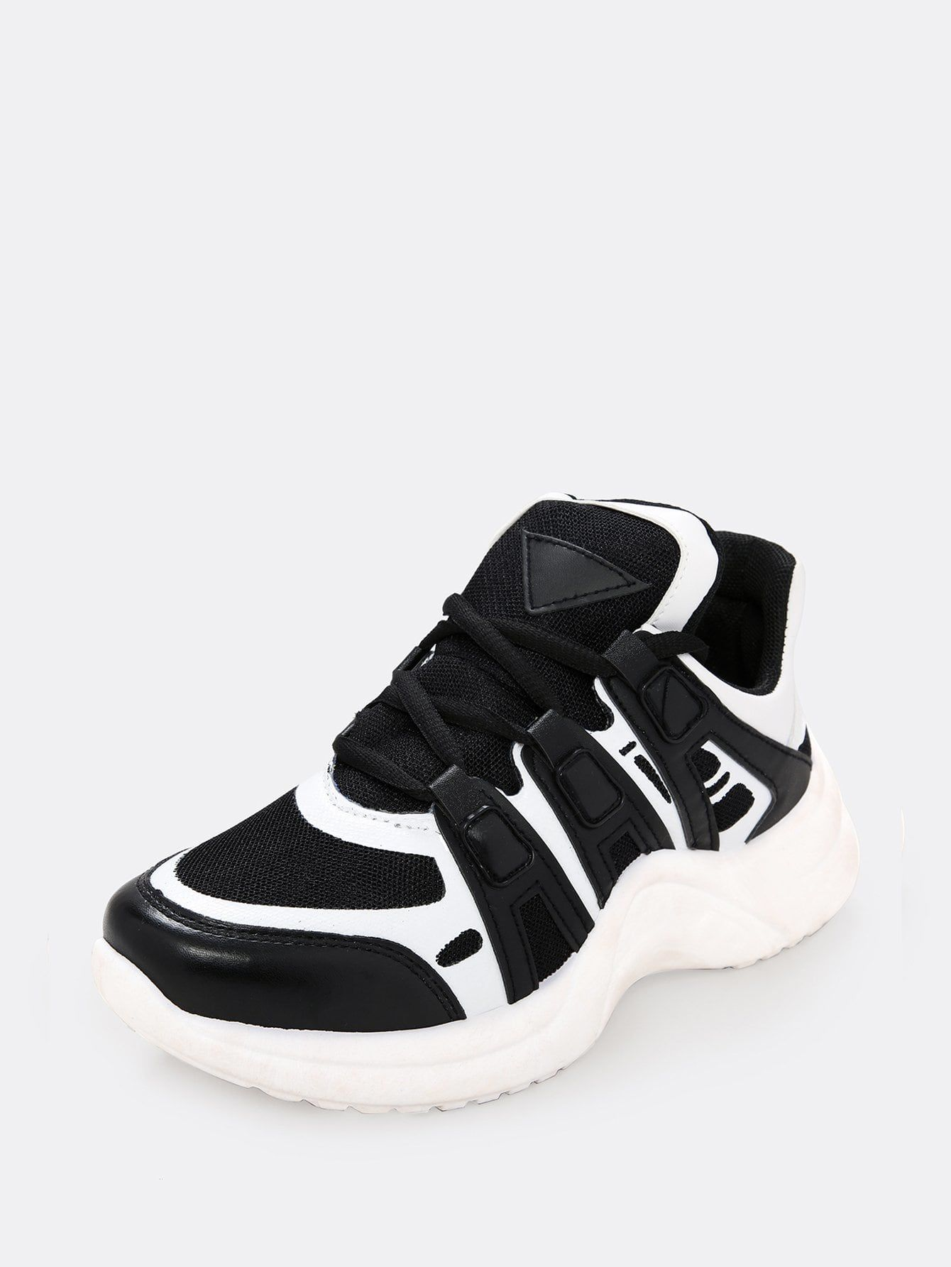 dccd65926f Sporty Round Toe Letter White Letter Print Lug Sole Wedge Sneakers | Shoe | Wedge  sneakers, Sneakers, White letters