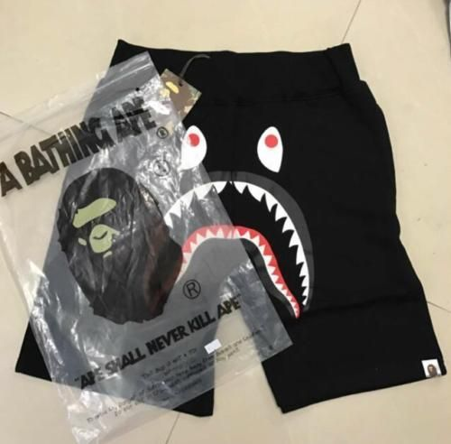 Unisex Shorts Japan Bape Shark Jaw Icon Pattern A bathing ape Pants Black  5Size 5d239849a2