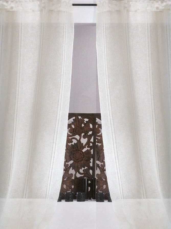 voilage+mi-lin+blanc+uni galon+fronceur 300cm+x+240cm rideau+