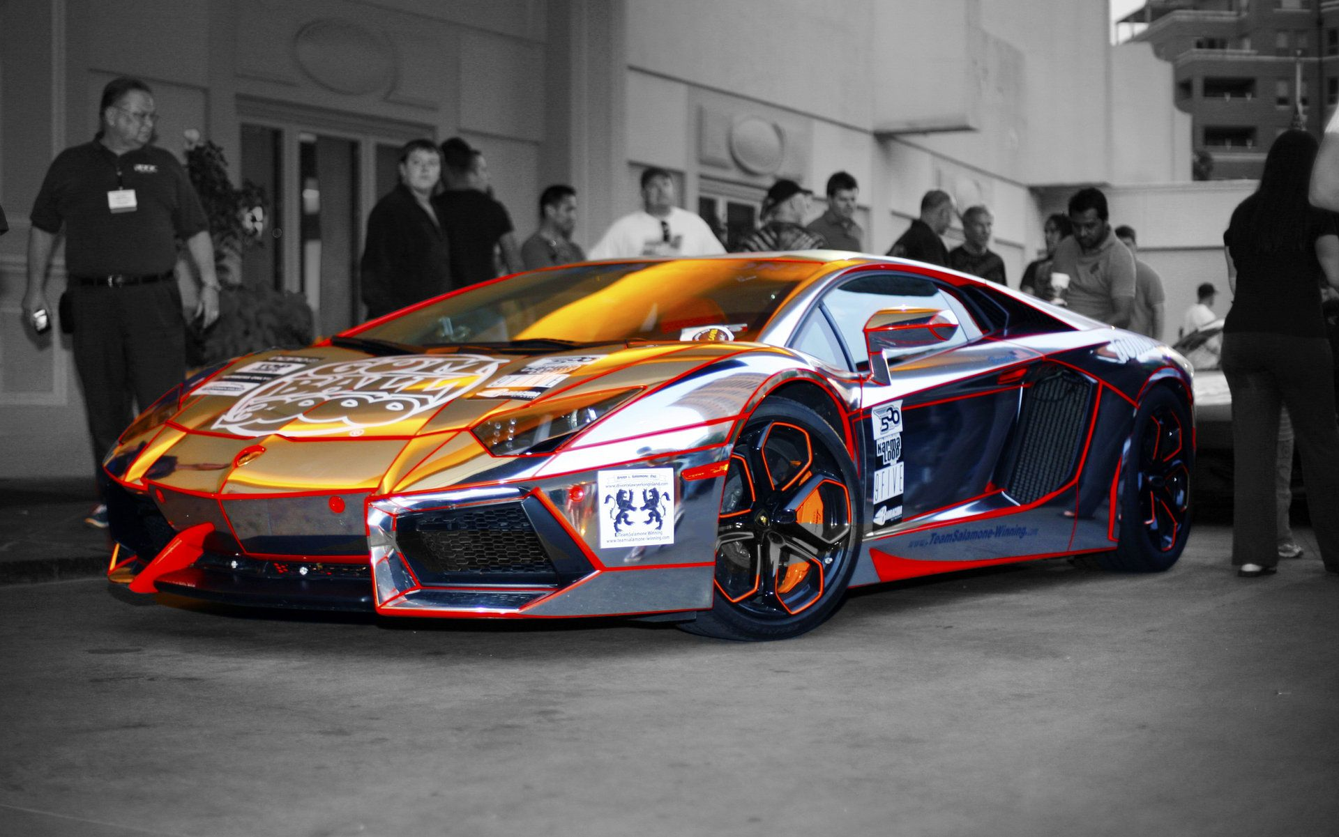 Cool Chrome/ Tron themed wrap on Lambo Aventador | Gumball ...