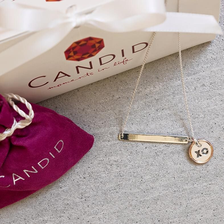 """CANDID bar necklace and """"xo"""" charm"""