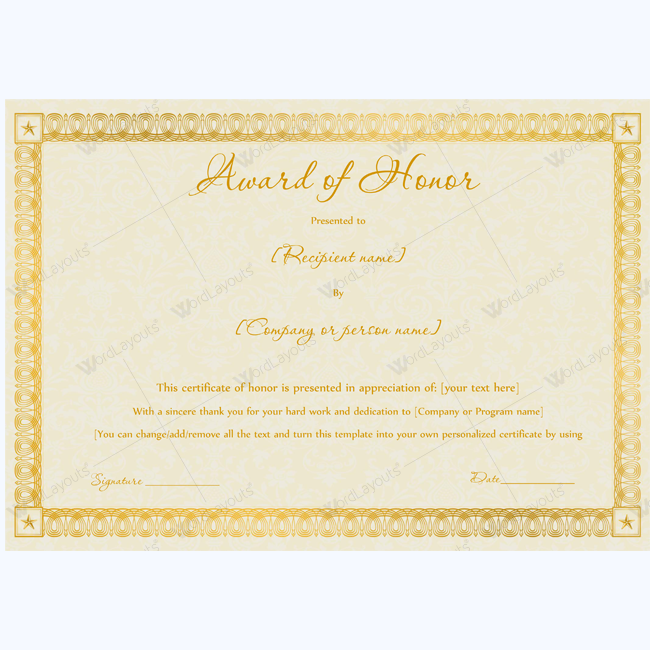 Editable award of honor certificate certificate template editable award of honor certificate certificate template honortemplate honor yelopaper Choice Image