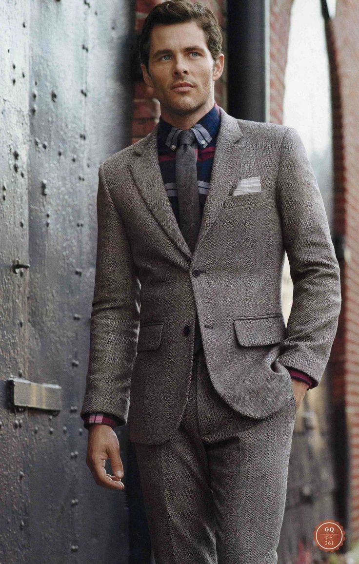 James Marsden wearing Grey Wool Suit, Navy Plaid Dress Shirt ...