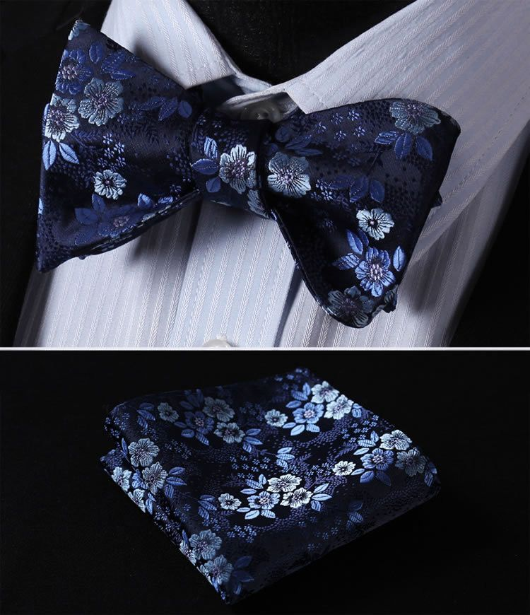 780a92b49304 BF3001B Navy Blue Floral 100%Silk Men Butterfly Self Tie Bow Tie Pocket  Square Set #stylefromachitownerseye