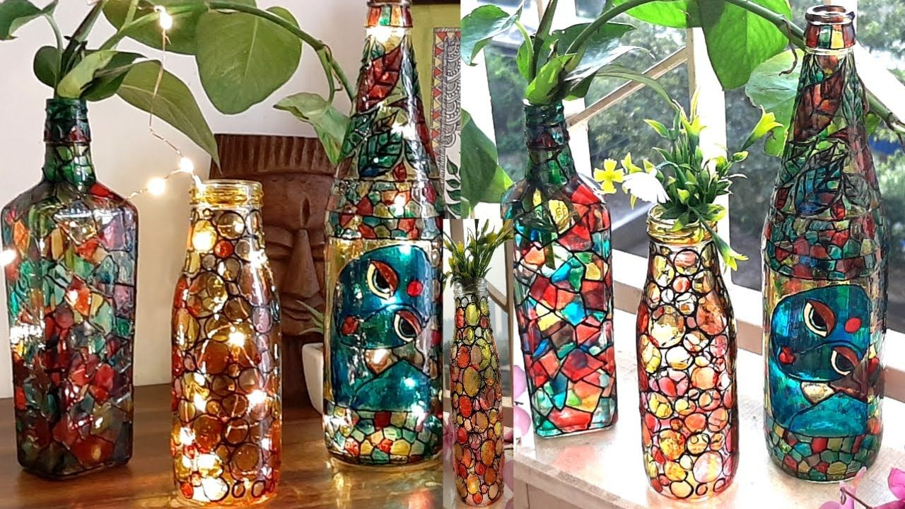 Glass Bottle Painting l How to use glass colours on bottle - YouTube in  2020 | Glass bottles art, Painted glass bottles, Glass painting designs