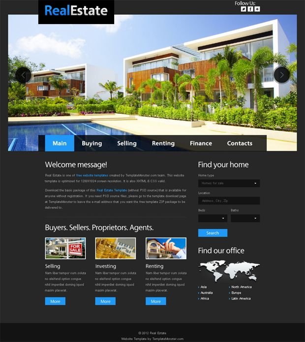 Website Templates Free Website Template For Real Estate With Justslider  Template