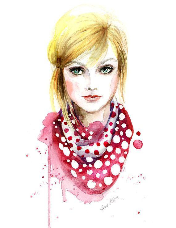 Watercolor illustration  Fashion art print  LV by sookimstudio #scarf #polkadot