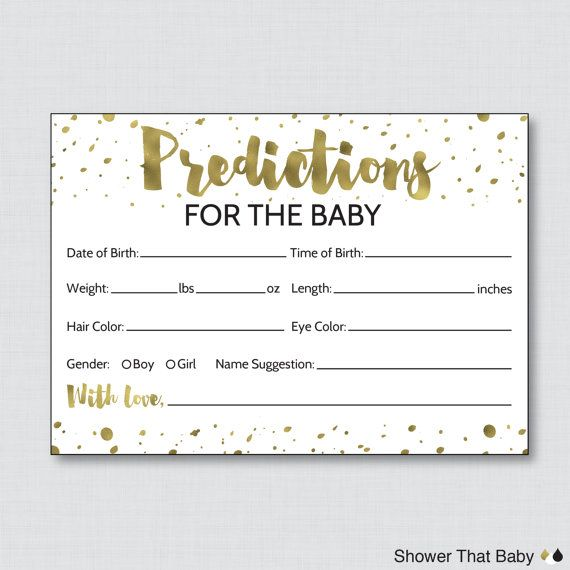 White And Gold Baby Shower Prediction Cards