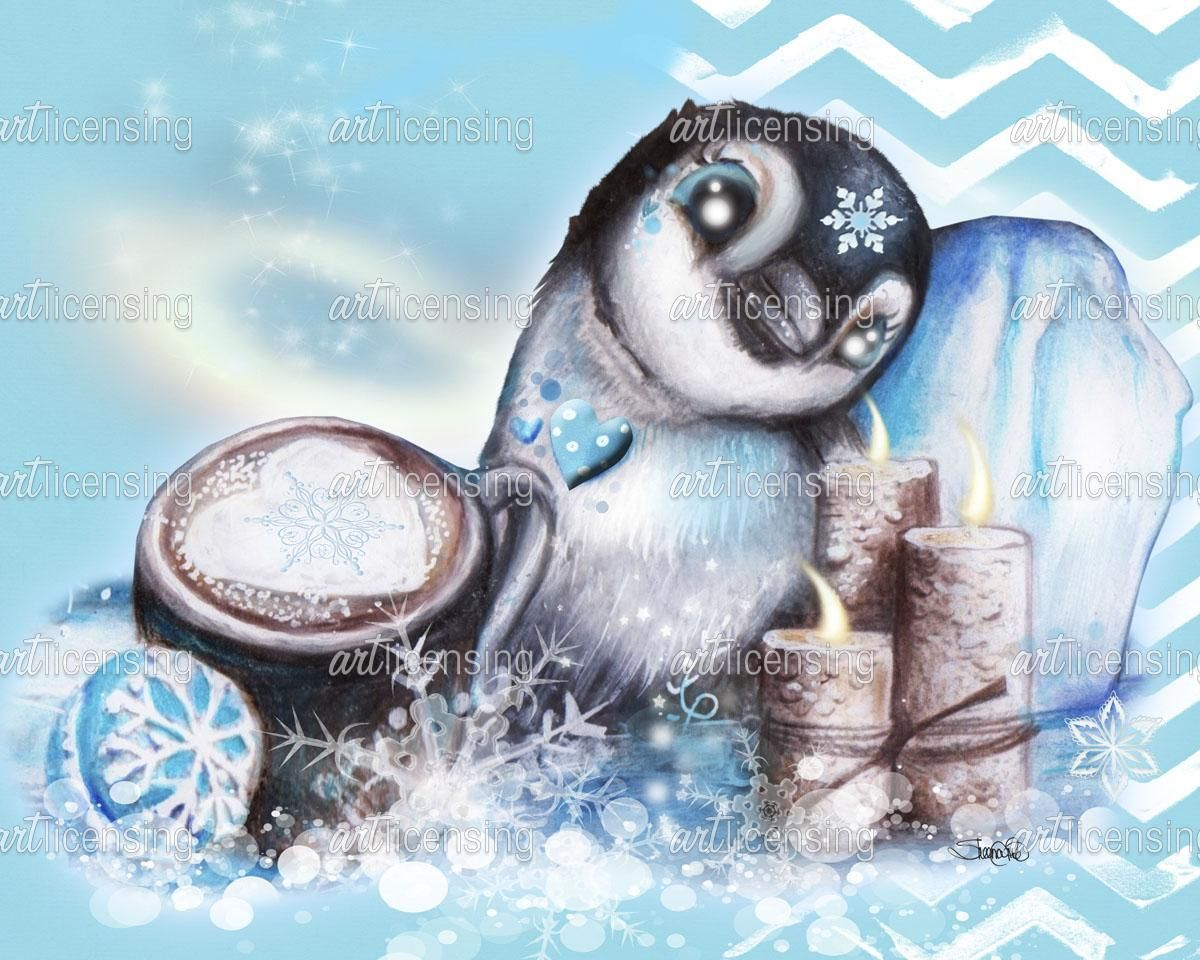 Winter Penguin with background Art Licensingby ©Sheena