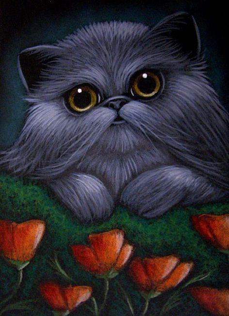 Art: *SMOKEY PERSIAN CAT - POPPY FLOWERS by Artist Cyra R. Cancel