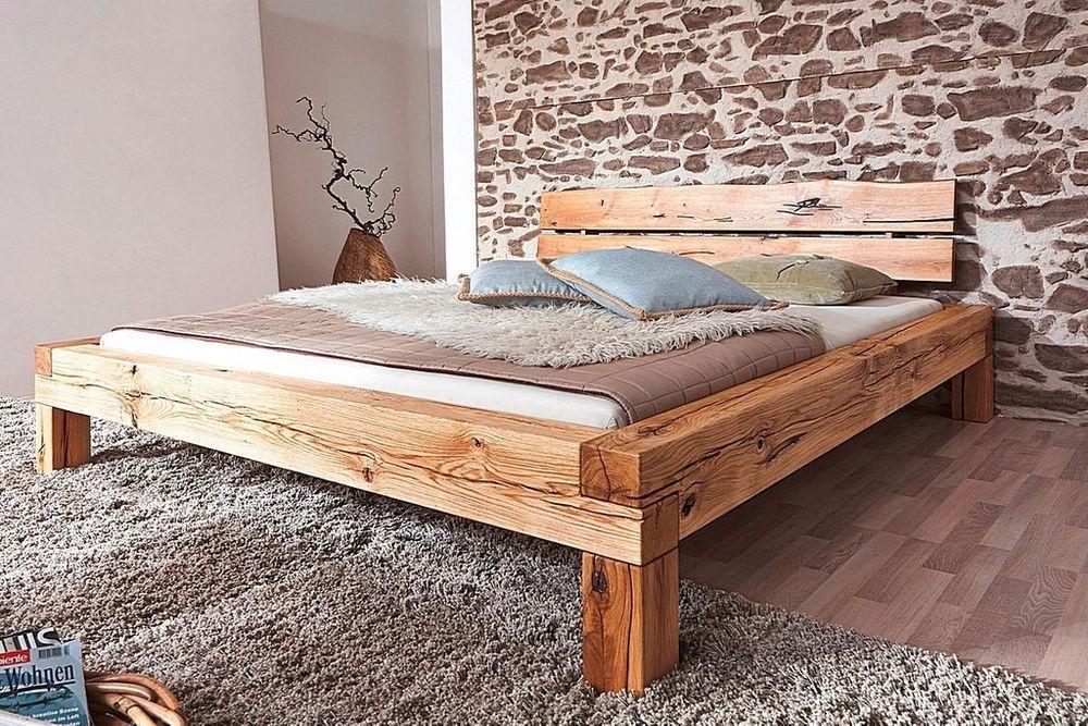 Details zu Massivholz Bett 180x200 Wildeiche geölt