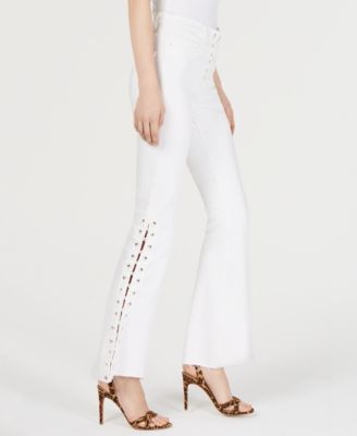 Guess Guess 1981 Cropped Lace Up Flare Pants White 28 from macys | more