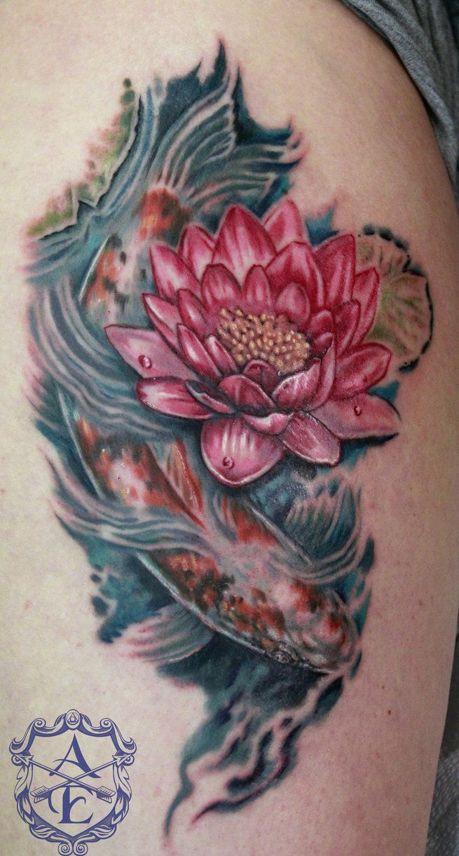 Koi And Flower Tattoos Lotus Flower With Koi Fish Tattoo By