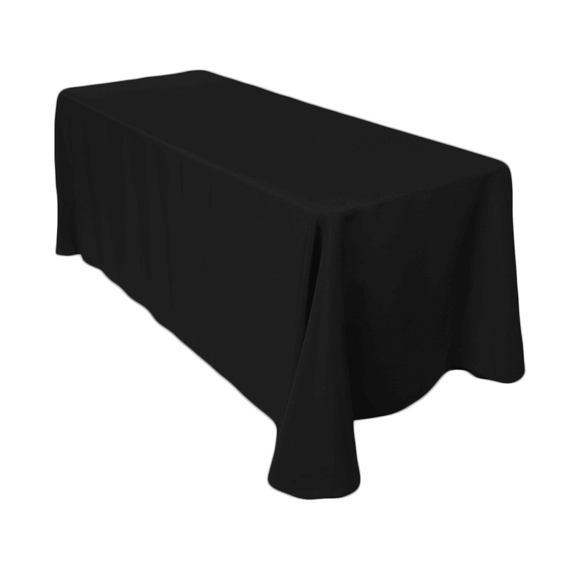 90 x 156 inch Rectangular Polyester Tablecloth Black on a
