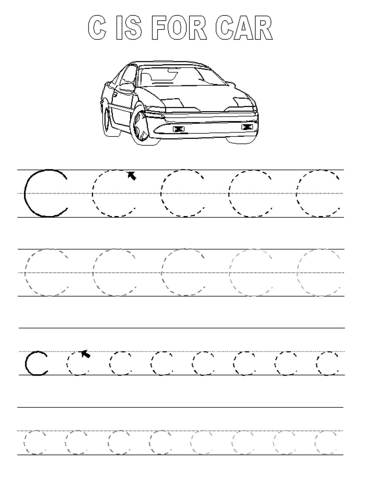 trace the letters car | Learning to write | Pinterest