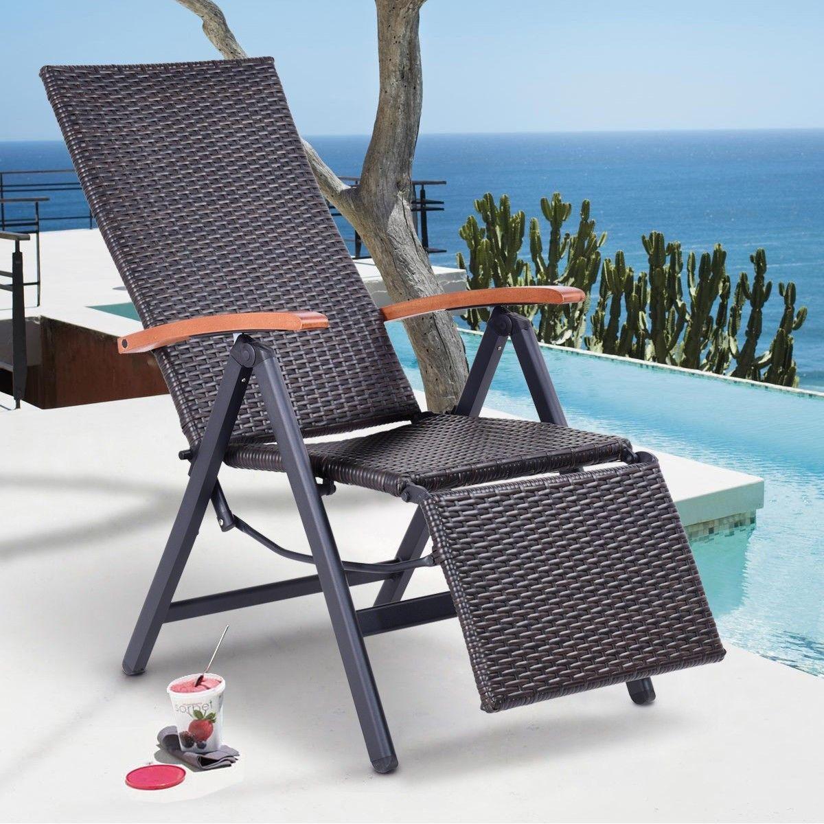 Garden folding rattan aluminum recliner chair outdoor